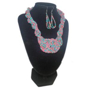 Collar Aretes Mostacilla Guayaba