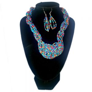Collar Aretes Mostacilla Azul Salpicón