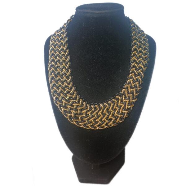 Collar Trenza Negro Dorado