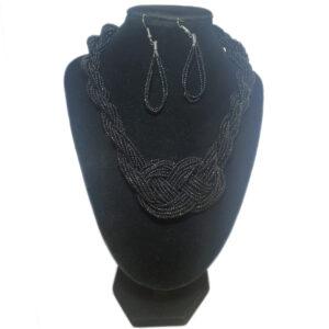Collar Aretes Mostacillas Diseño Trenza