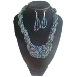 Collar Aretes Mostacilla Azul Petroleo