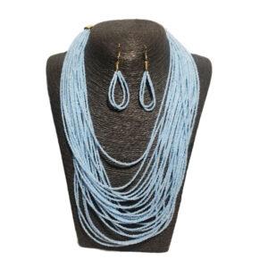 Collar Multicapas Azul Celeste
