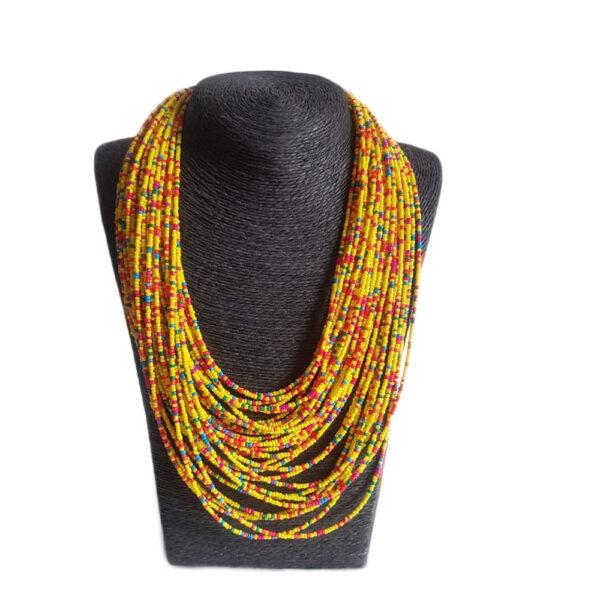 Collar Largo Multicapas Mostacilla-Amarillo Salpicon