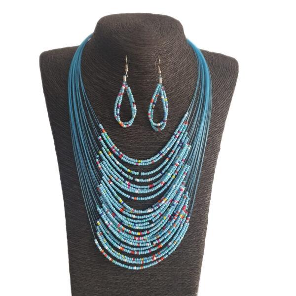 Collar Aretes En Mostacilla-Azul Claro