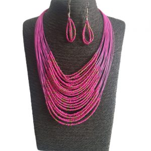 Collar Aretes En Mostacilla-Fucsia