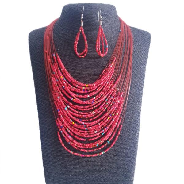 Collar Aretes En Mostacilla-Rojo