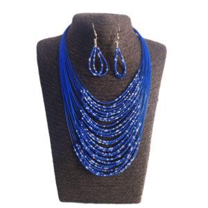 Collar Aretes En Mostacilla-Azul Oscuro