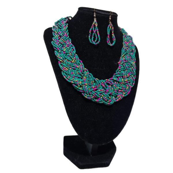Collar Y Aretes Mostacilla-BIS-090