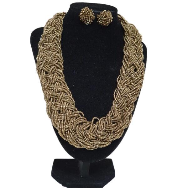 Collar Y Aretes Topo Mostacilla-BIS-098