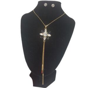 Collar Cadena Y Aretes En Acero