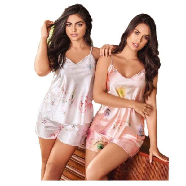 Pijama en Satin Short y Tiras