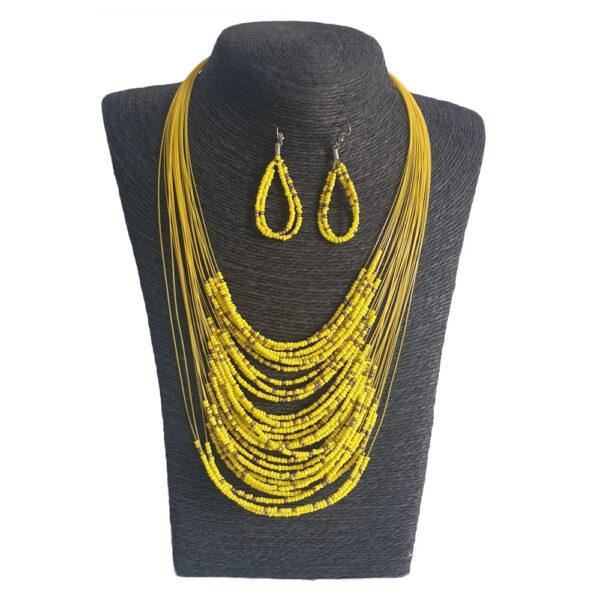 Collar Aretes Mostacilla Amarillo