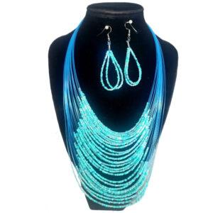 Collar Aretes Mostacilla Azul Celeste