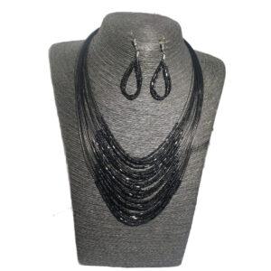 Collar Aretes Mostacilla Negro