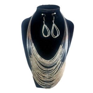 Collar Aretes Mostacilla Plata