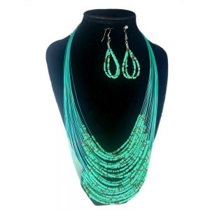 Collar Aretes Mostacilla Verde Dorado