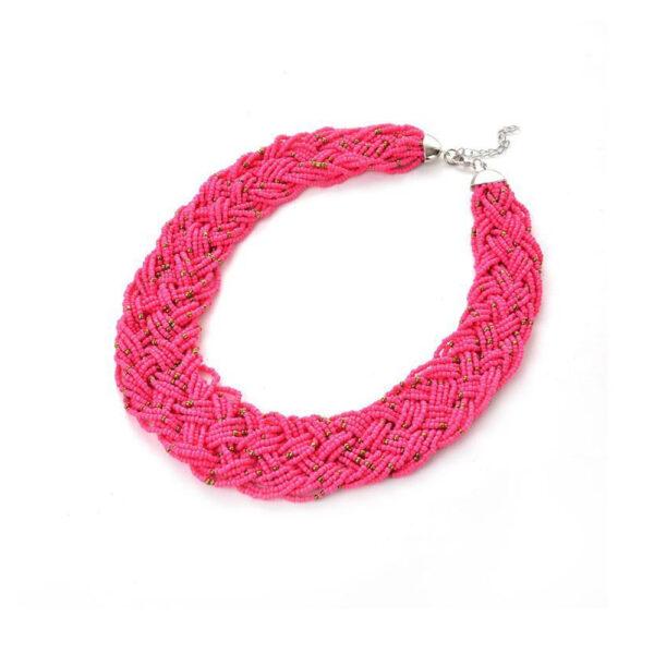 Collar y Aretes En Mostacillas Rosa Chicle