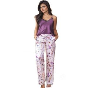 Pijama En Satin Pantalon y Top Largo